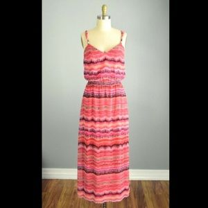 White House Black Market Pink Striped Maxi Dress